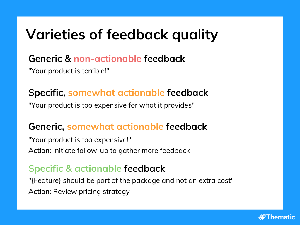 varieties of customer feedback quality (thematic)