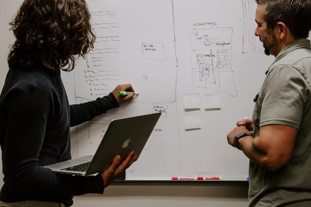 Two people analyzing information, and CSAT, with a computer and whiteboard