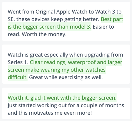 Sample of positive Apple Watch user reviews