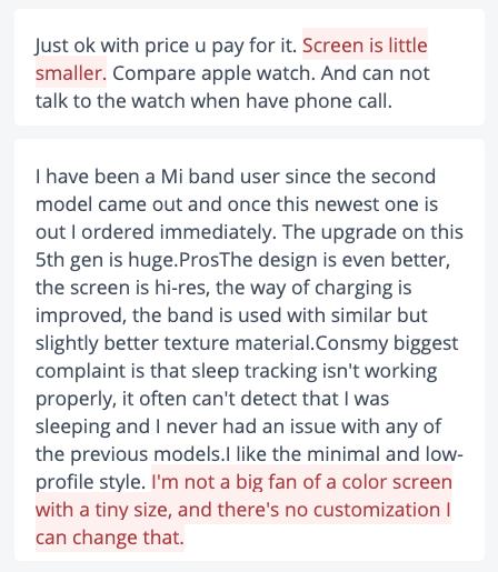Sample of negative Mi Band user reviews
