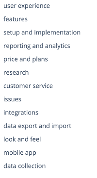 The fundamental themes that emerged during our analysis of survey platform reviews