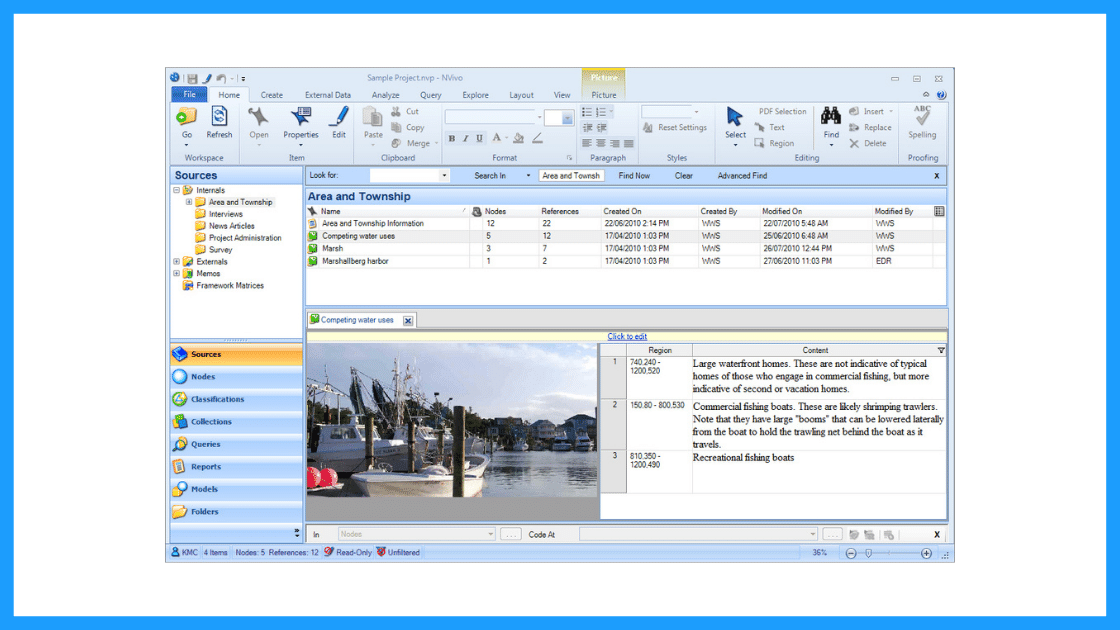The user interface of CAQDAS software 'NVivo'