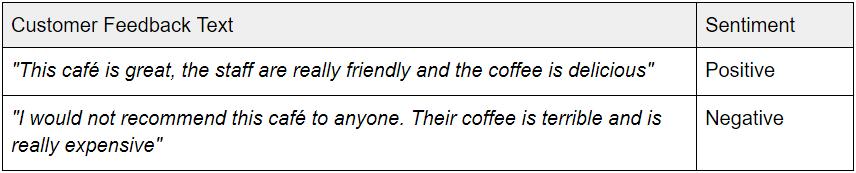 Customer feedback text